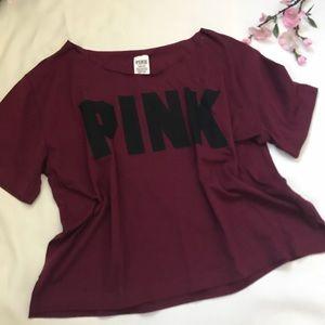 VS PINK off shoulder burgundy tee size L